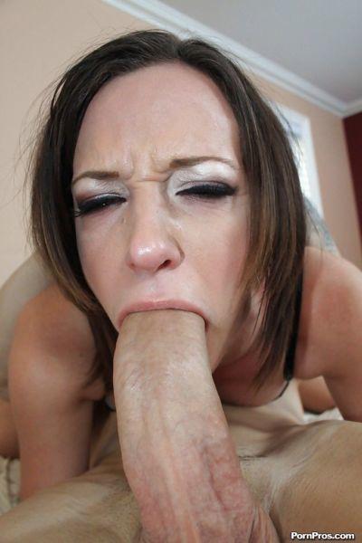 Brunette cock sucker Jada Stevens having mouth forced down over massive cock - part 2