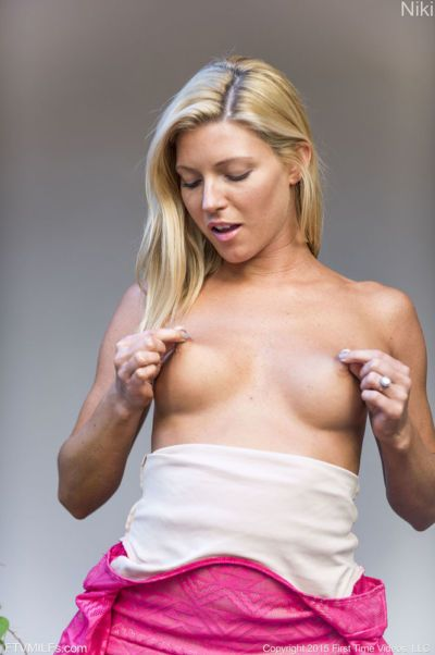 Blonde MILF in high heels flashes naked upskirt & bares hot tits outdoors - part 2