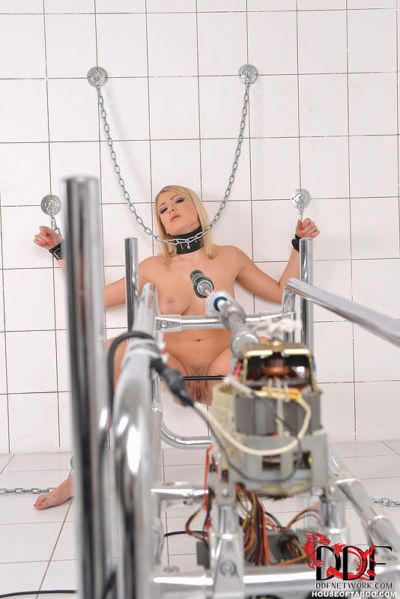 Busty blonde Lucy Heart painfully fucked by machine in trimmed cunt
