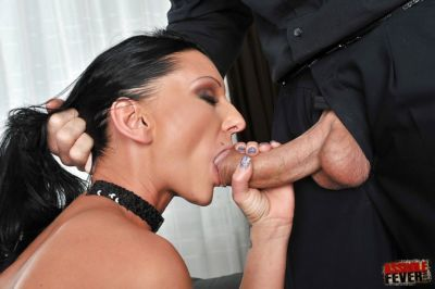 Lecherous slut gets her cherry hole stuffed with a plug and with a huge boner