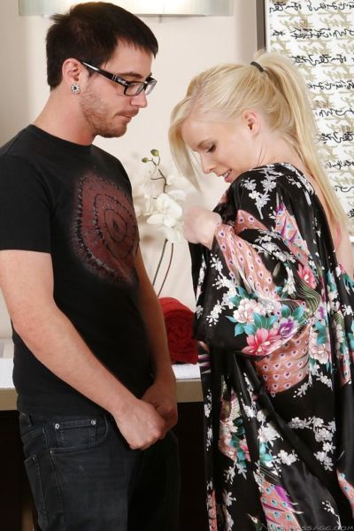 Perky blonde masseuse has some wet and soapy fun with a horny client