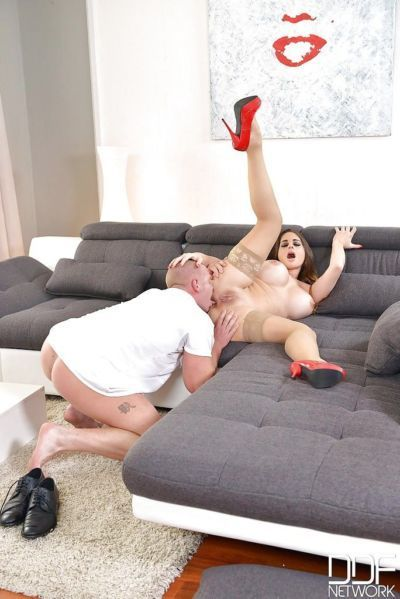 Busty Euro MILF Cathy Heaven deepthroating cock in uniform and hose - part 2