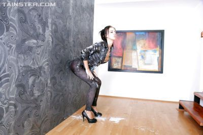 Lusty fetish chick has some messy fully clothed fun with a fake cock and jizz - part 2