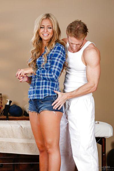 Seductive blonde stunner Madelyn gets fucked after a massage
