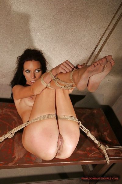Busty babe Vivien Bianchy slipping off her lingerie and getting bound - part 2