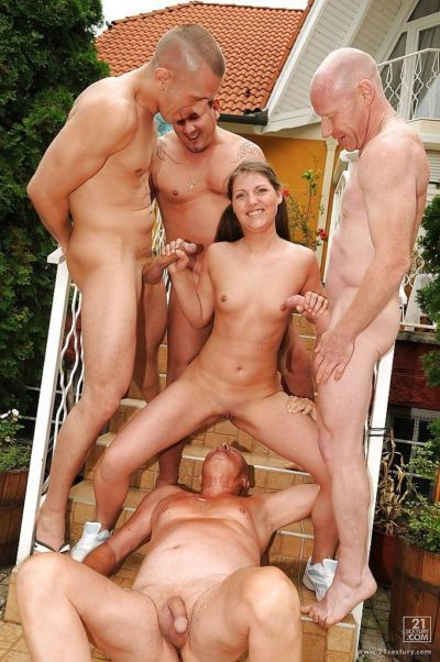 Slutty european babe gets pissed on and bukakked by four guys outdoor - part 2